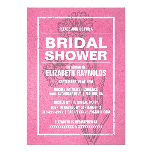 rustic pink bridal shower invitations