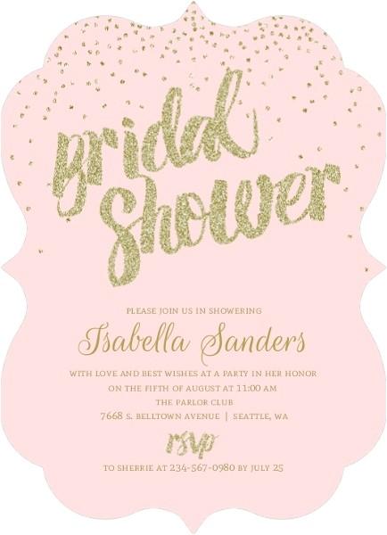 blush faux gold glitter bridal shower invitation