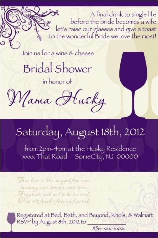 Bridal Shower Invitations Wine theme Wording Wine themed Bridal Shower Invitations Template