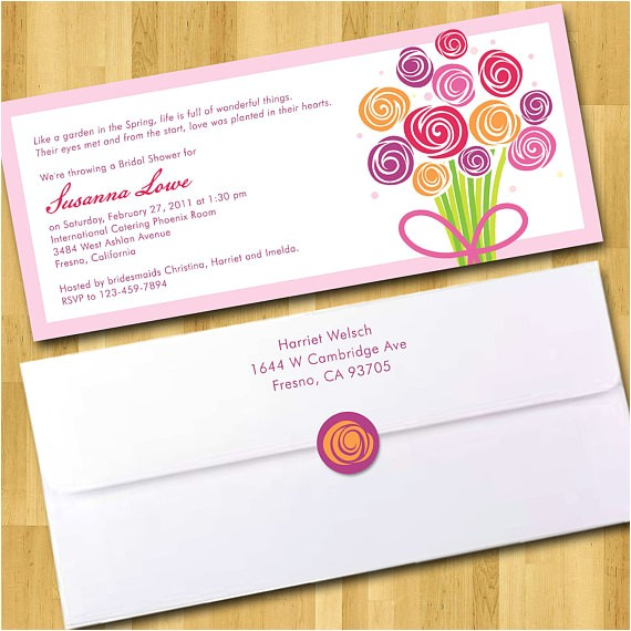 bridal shower invitations 4x9 with