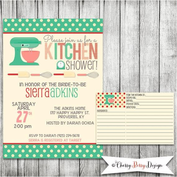 kitchen bridal shower invitation printable file 5 x 7 and matching recipe card