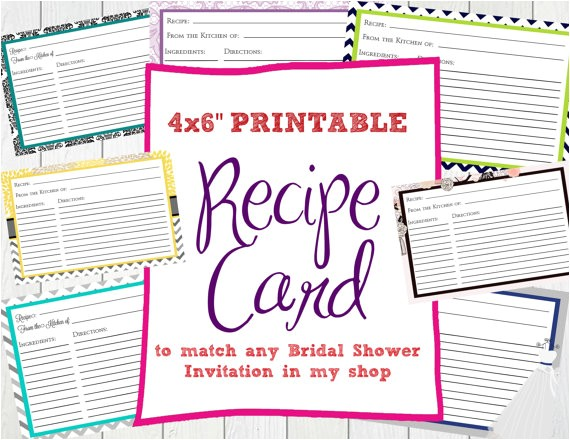 recipe card to match bridal shower