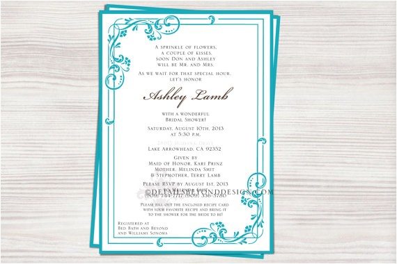 swirl bridal shower invitation matching recipe