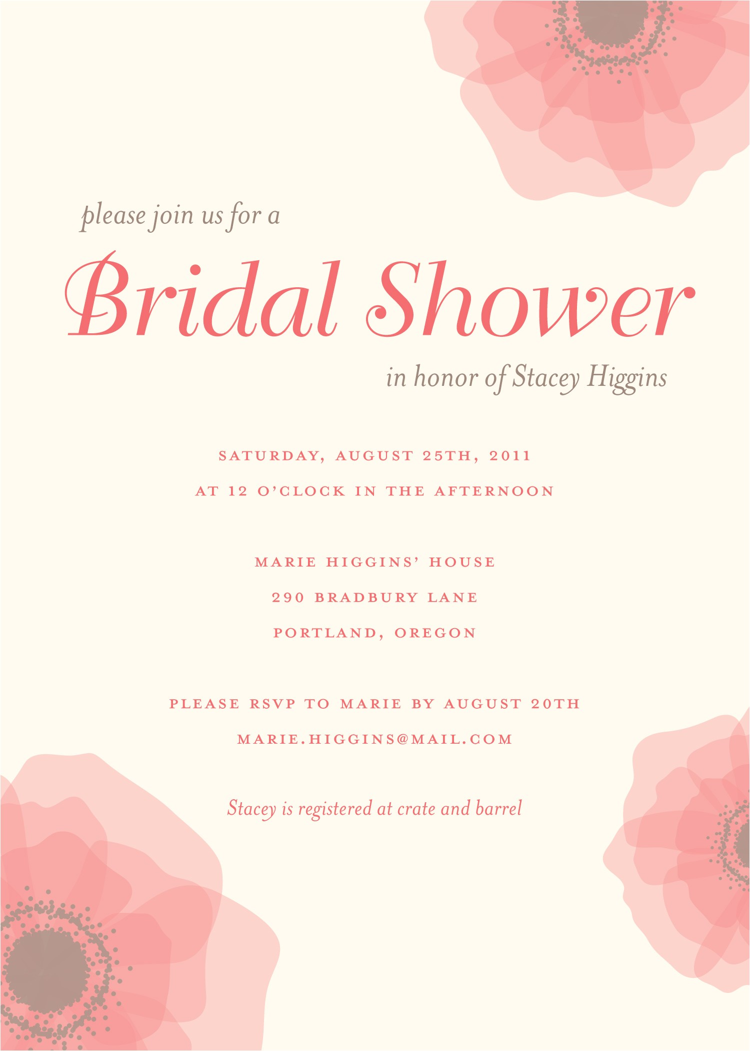 bridal shower save the date wording