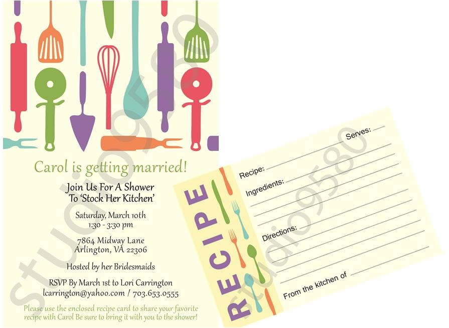 printable stock the kitchen bridal shower invitations with matching recipe cards