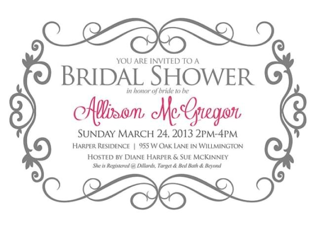 bridal shower invitation gray and pink bride shower invite photoshop template change colors and text with add on