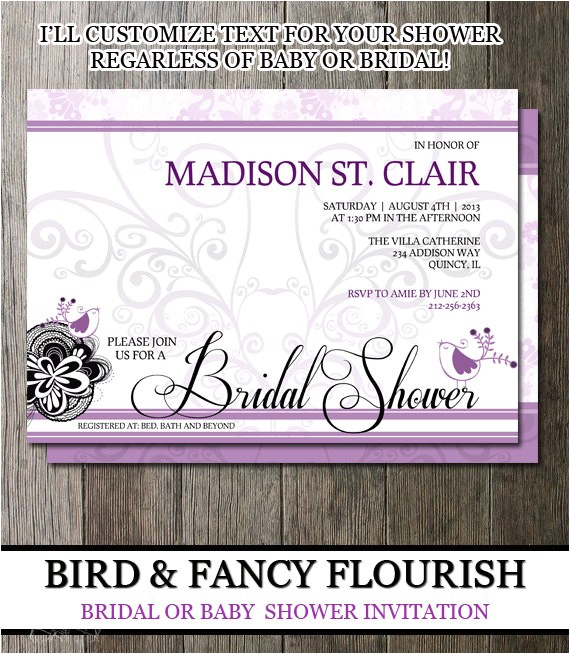 Bridal Shower Invite Text Bridal Shower Invite Customizable Text Baby by Oddlotemporium
