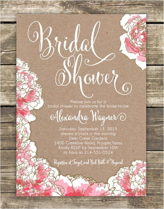 printed bridal shower invitation romantic pink