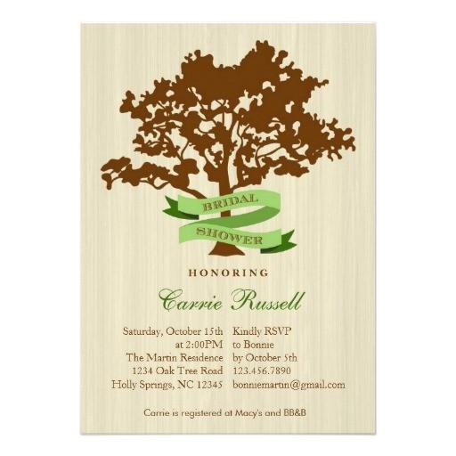 oak tree fall bridal shower invitation