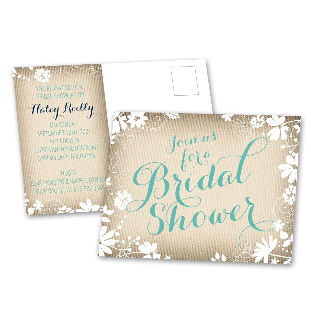 country charm bridal shower postcard