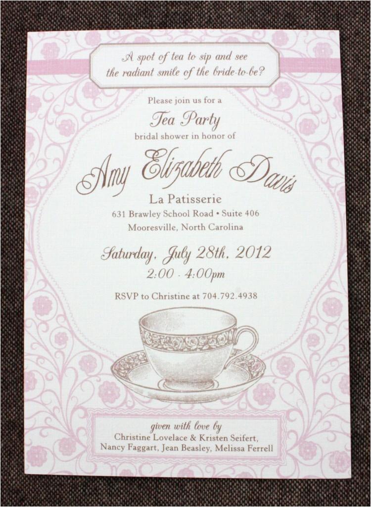 bridal shower tea party invitation wording