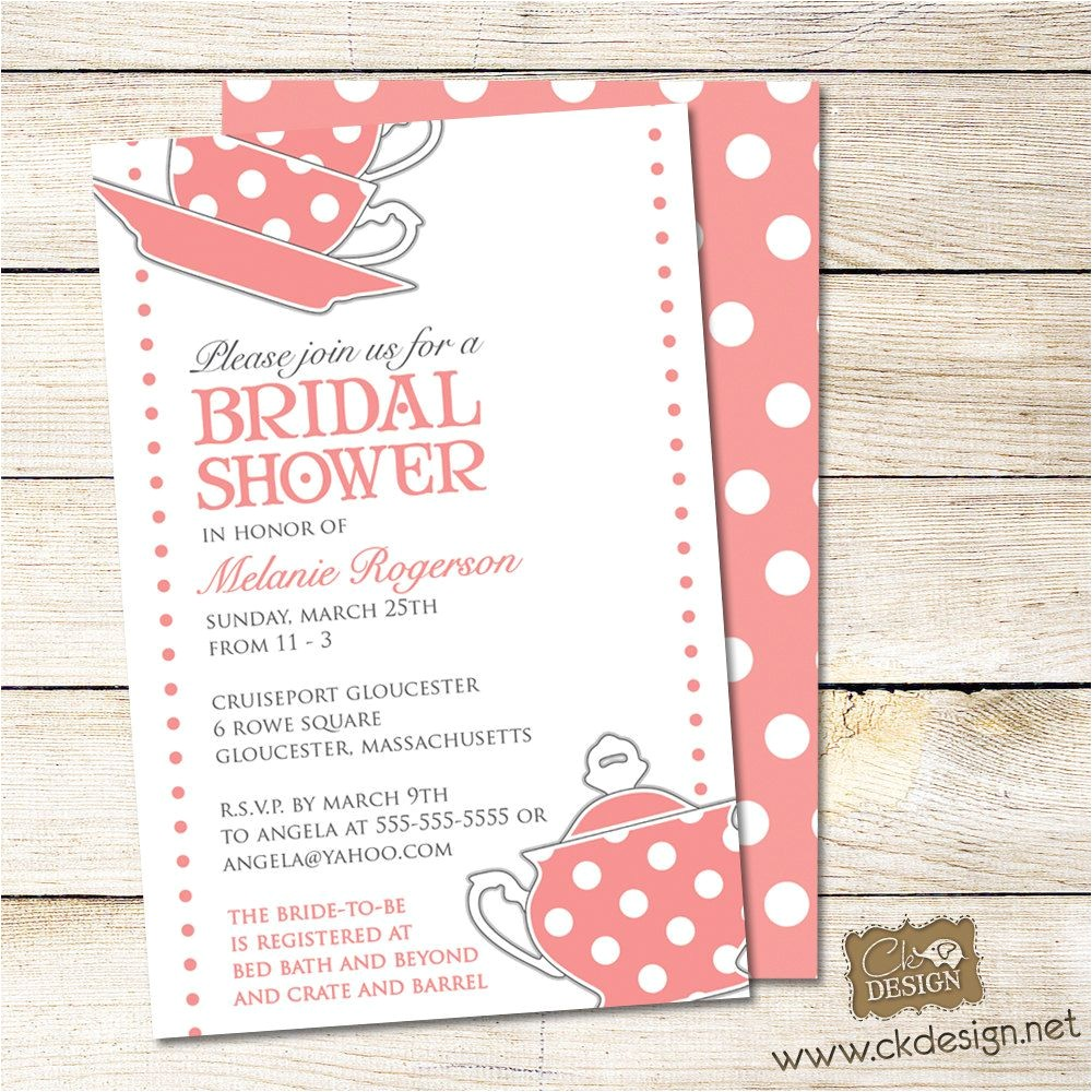 bridal shower tea party invitation poem