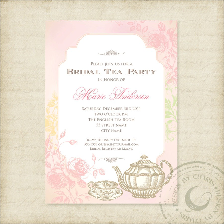 shabby chic bridal tea party printable