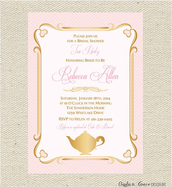 tea party bridal shower invitation