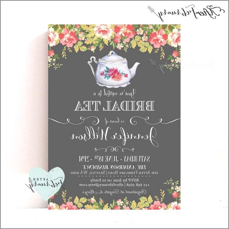 bridal shower tea party invitations etsy