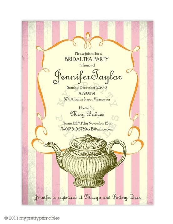 vintage bridal tea party invitation b