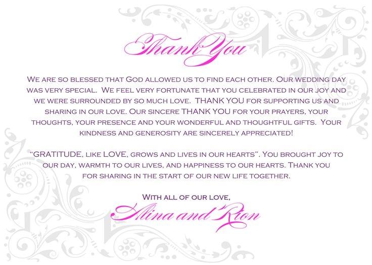 wedding thank you wording
