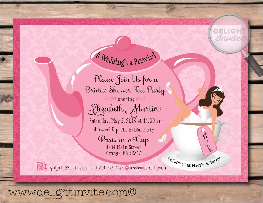 free bridal shower tea party invitations
