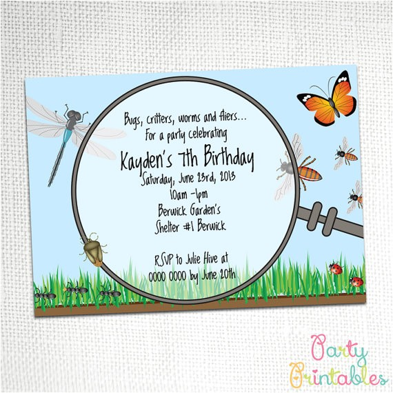 bug and insect party invitation