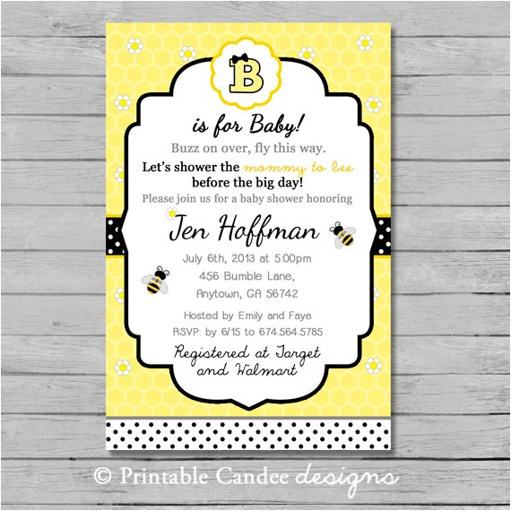 bumble bee baby shower invitation diy