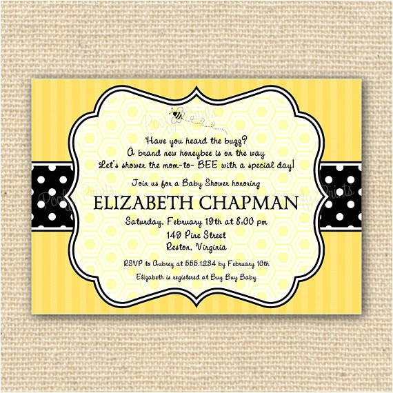 bumble bee baby shower invitations diy