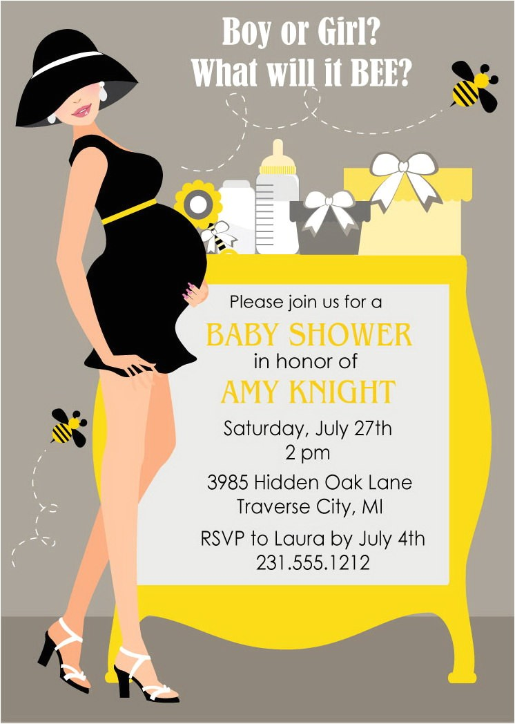 bumble bee baby shower invitations gender neutral shower digital file diy printable card