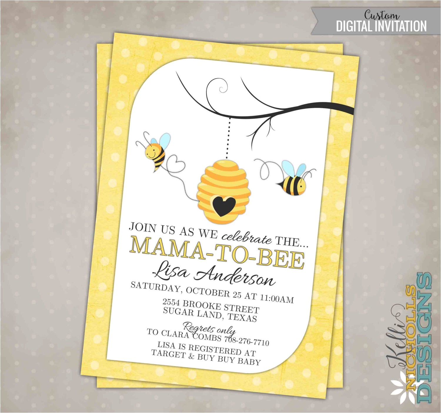 bumble bee baby shower invitation custom