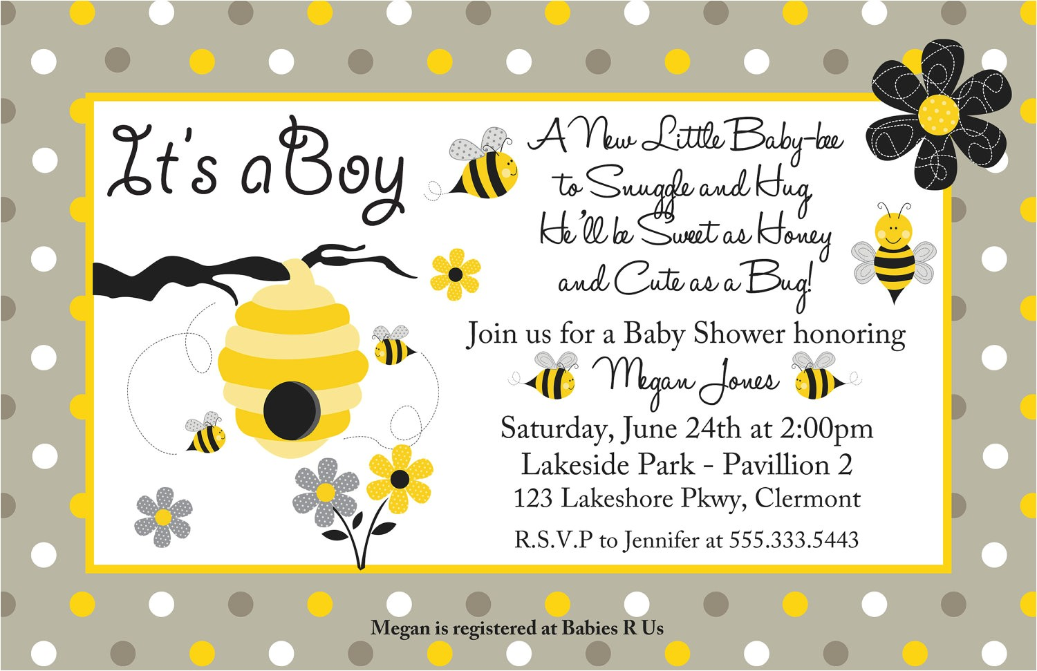 bumble bee baby shower invitations