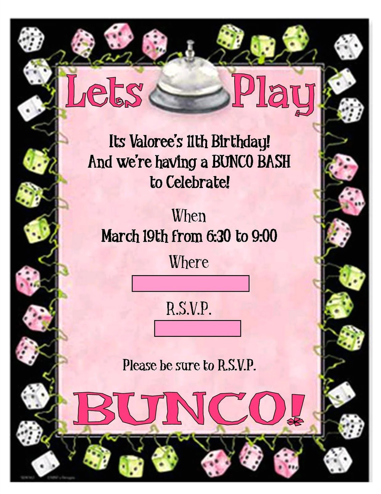 fw printable bunco invitations