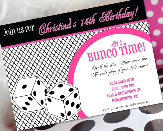 Bunco Birthday Party Invitations Bunco Birthday Invitation Bunco Invitation Bunco Birthday