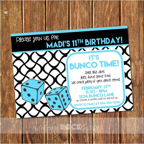 bunco birthday party invitation bunco
