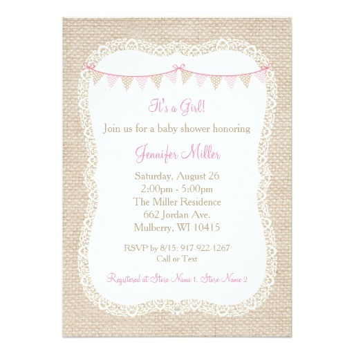 burlap lace baby shower invitations