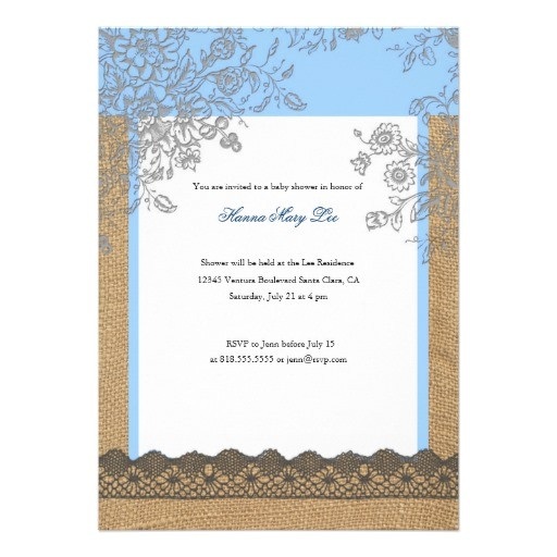burlap lace baby shower invitation