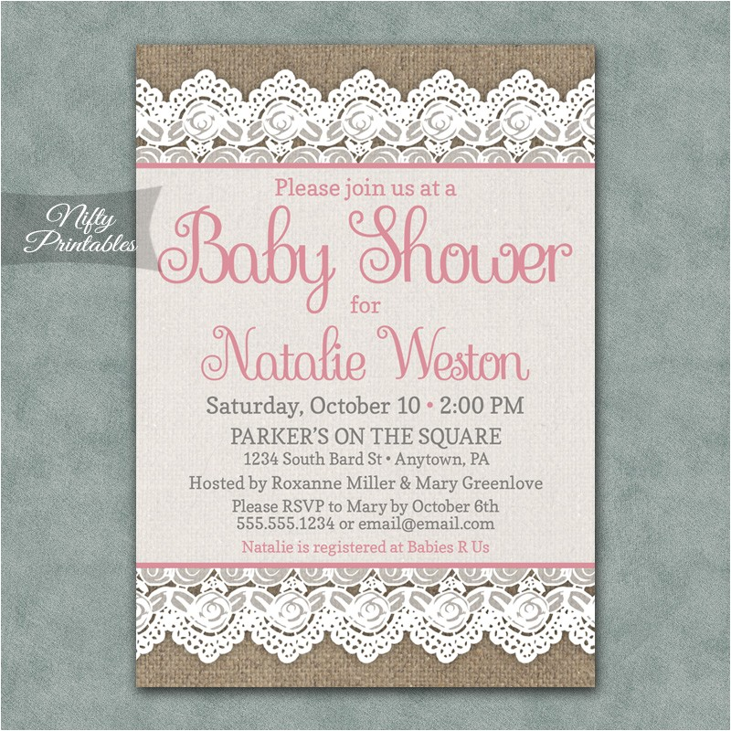 burlap lace pink baby shower inv