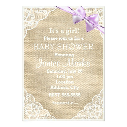 vintage rustic burlap lace baby shower invitation