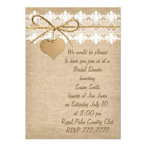 bridal shower invitations burlap and