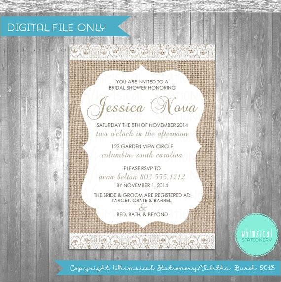 bridal shower invitations burlap lace