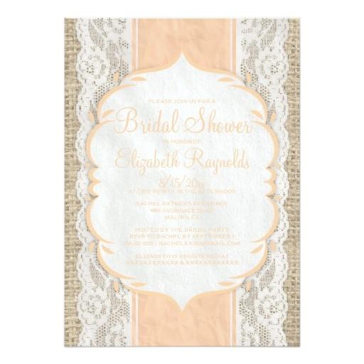 peach linen burlap lace bridal shower invitations