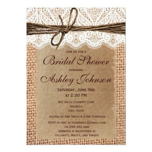 rustic burlap lace bridal shower invitations