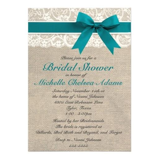 turquoise lace burlap bridal shower invitation