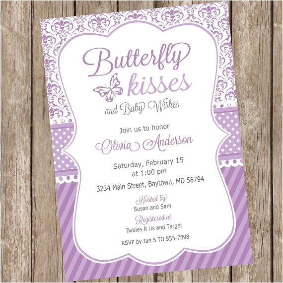 butterfly kisses baby shower invitation butterfly 5