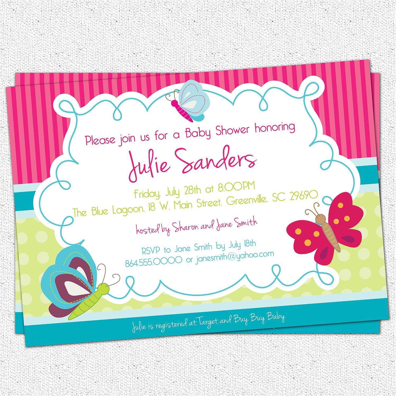 butterfly baby shower invitations butterflies spring gender neutral girl