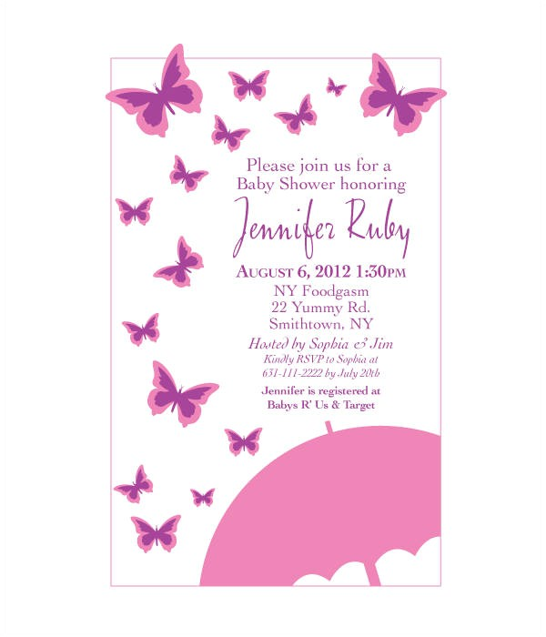 Butterfly Baby Shower Invites Free butterfly Invitation Templates 10 Free Psd Vector Ai