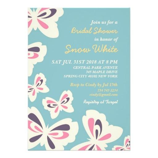 blue butterfly bridal shower wedding invitation