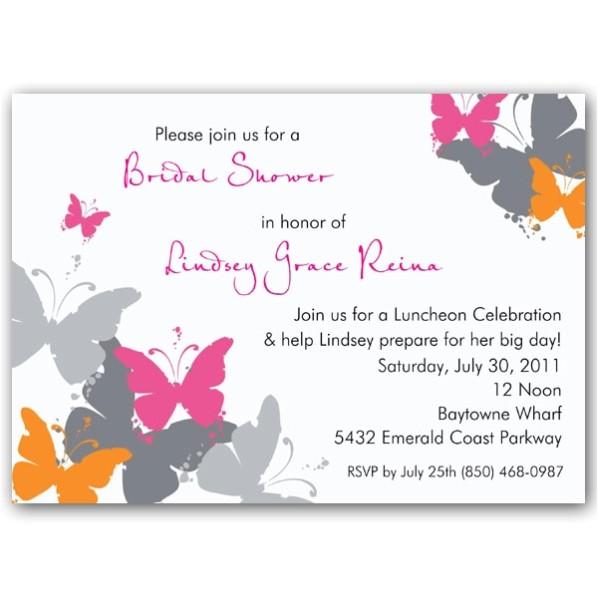 Butterflies Grunge Orange Bridal Shower Invitations p 609 75 083 BR P
