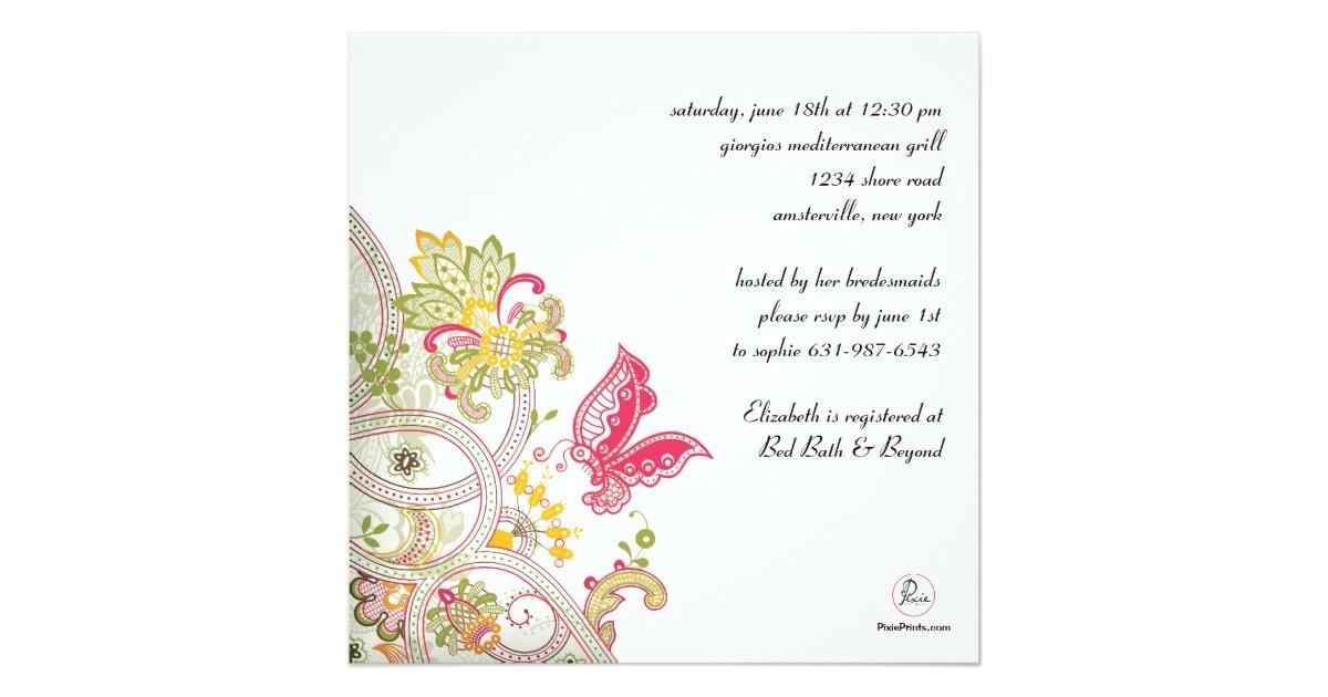elusive butterfly bridal shower invitation