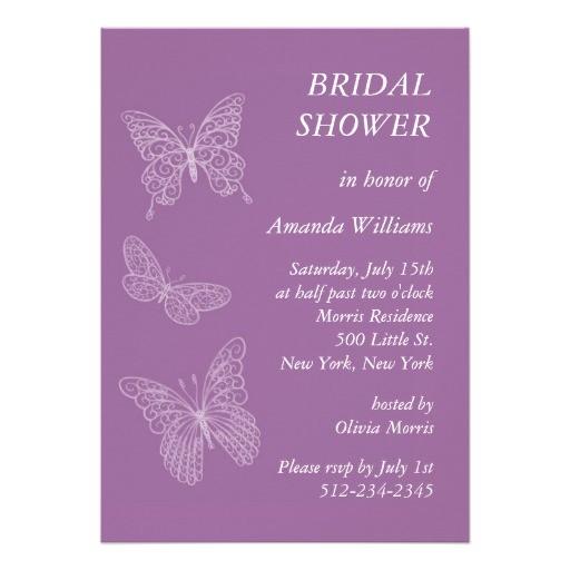Butterfly Bridal Shower Invitations Filigree butterfly Bridal Shower Purple Personalized