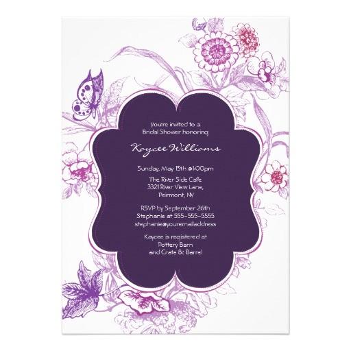 purple butterfly bridal shower invite
