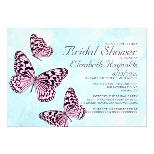 vintage butterflies bridal shower invitations