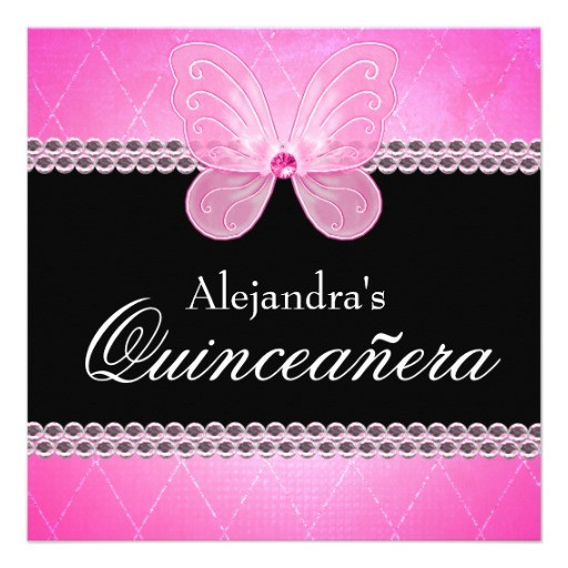butterfly diamonds pink quinceanera invitation 161814778150292346